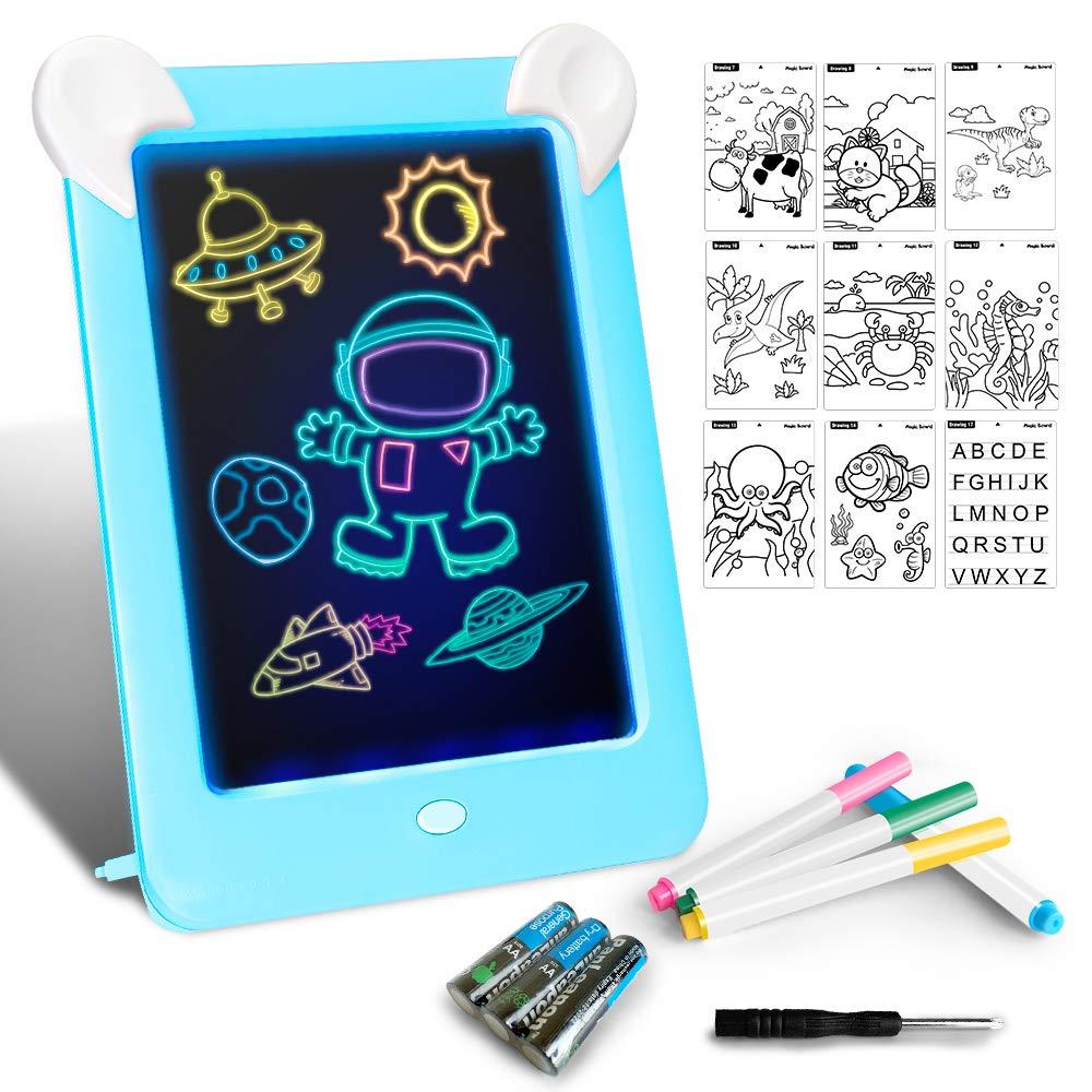 Tableta de Dibujo Pizarra 3D Mágico con Luces LED Educativo Infantil Dibujo