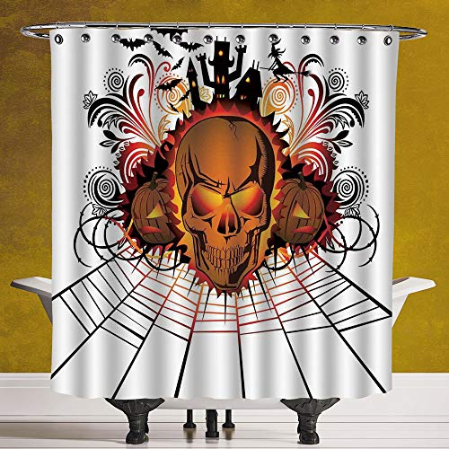 SCOCICI Funky Shower Curtain 3.0 [ Halloween Decorations,Angry Skull Face on Bonfire Spirits of Other World Concept Bats Spider Web,Multi ] Fabric Shower Curtain