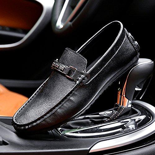 Plano Casual Top Coche Conducción Calzado Mocasines Hombre Low Zapatos Negro Zapatos gqRa78W