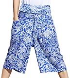Raan Pah Muang Light Viscose Rayon Fisherman Pants Capri Shorts Elephant Print, X-Large, White with Blue