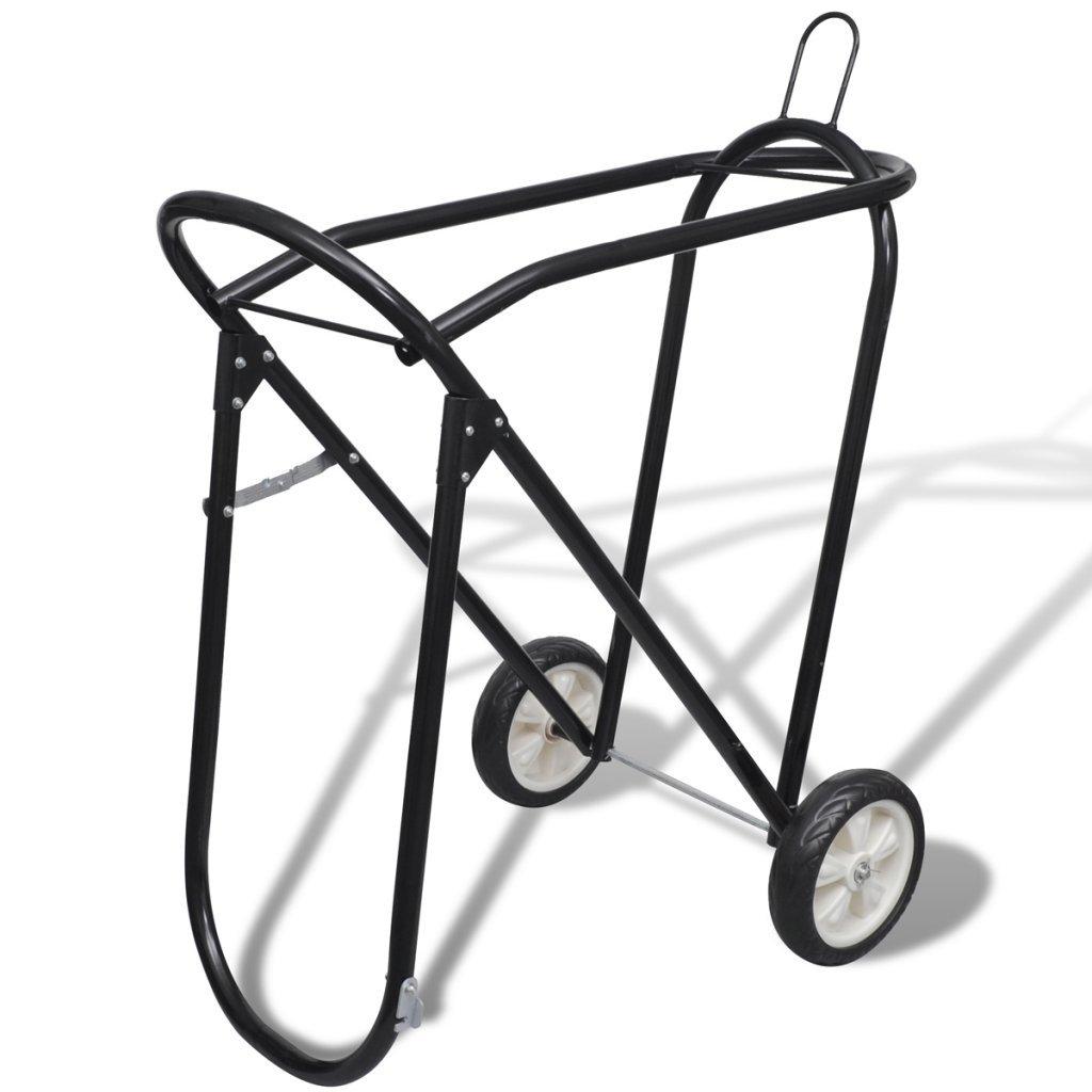 Festnight Foldable Horse Floor Saddle Rack Stand with Wheels, Metal Steel by Festnight (Image #1)