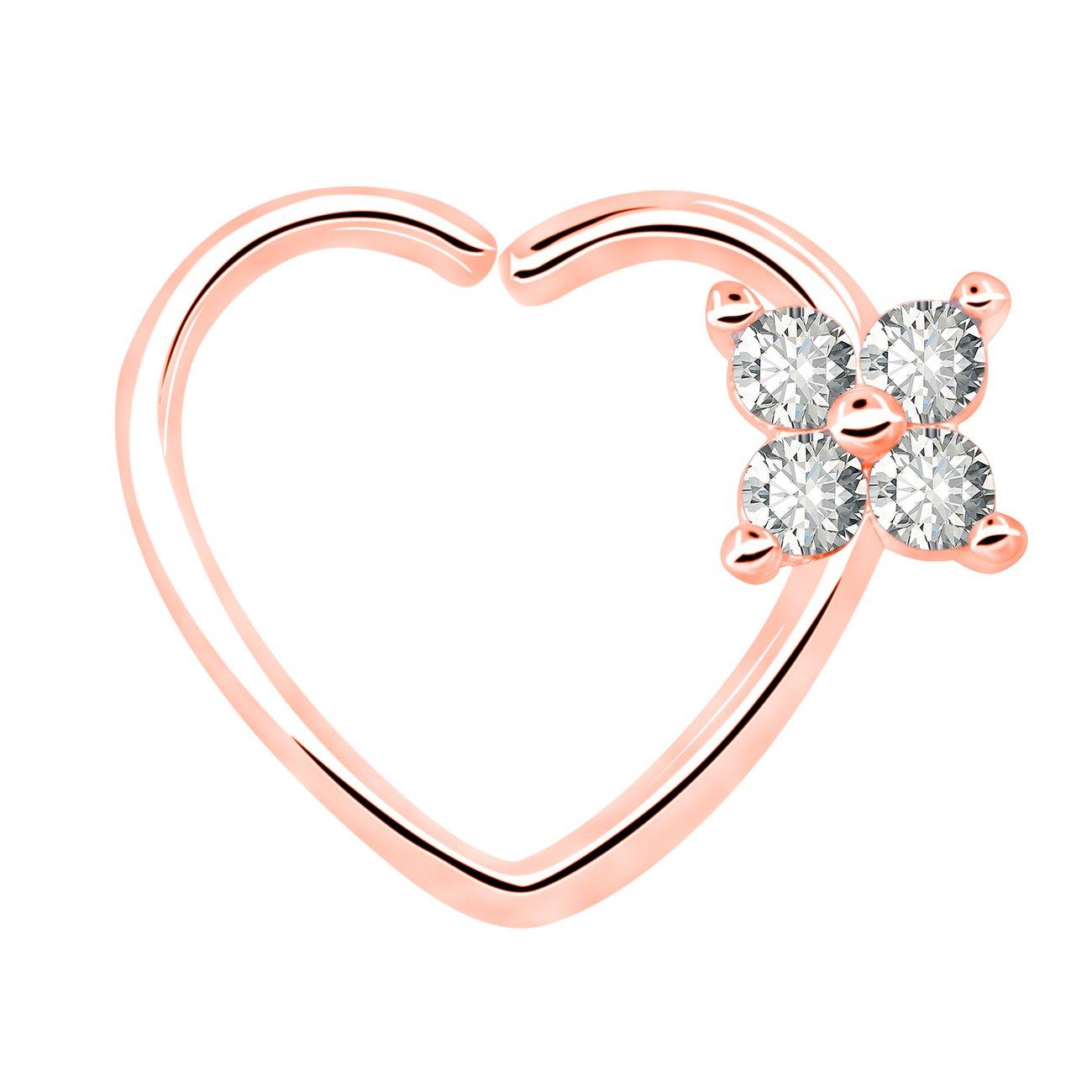 OUFER 16Gauge Flower CZ Heart Left Closure Daith Cartilage Tragus Earrings Body Piercing Jewelry HCA003-4