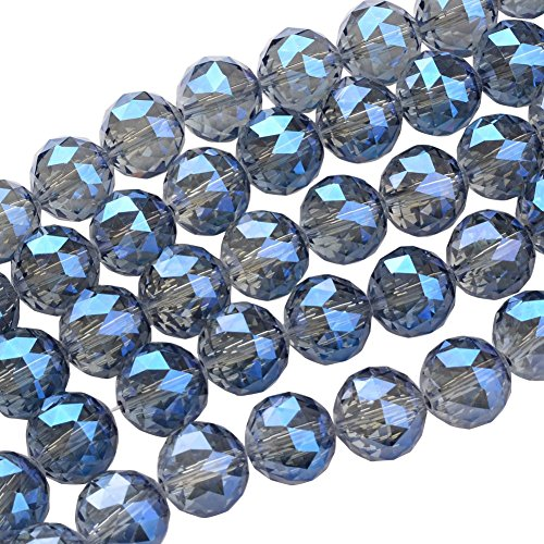 NBEADS 1 Strand Full Rainbow Plated Faceted Round RoyalBlue Electroplate Glass Bead Strands with 20mm,Hole: 2mm,About 12pcs/Strand ()