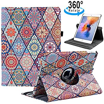 iPad 9.7 2018/2017, iPad Air 2, iPad Air Case - 360 Degree Rotating Stand Protective Cover with Auto Sleep Wake for Apple New iPad 9.7 inch (6th Gen, 5th Gen) / iPad Air 2013 Model(Polygon Pattern)