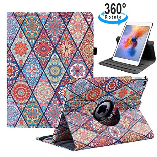 iPad 9.7 2018/2017, iPad Air 2, iPad Air Case - 360 Degree Rotating Stand Protective Cover with Auto Sleep Wake for Apple New iPad 9.7 inch (6th Gen, 5th Gen) / iPad Air 2013 Model(Polygon Pattern) (Best Ipad 2 Protective Case)