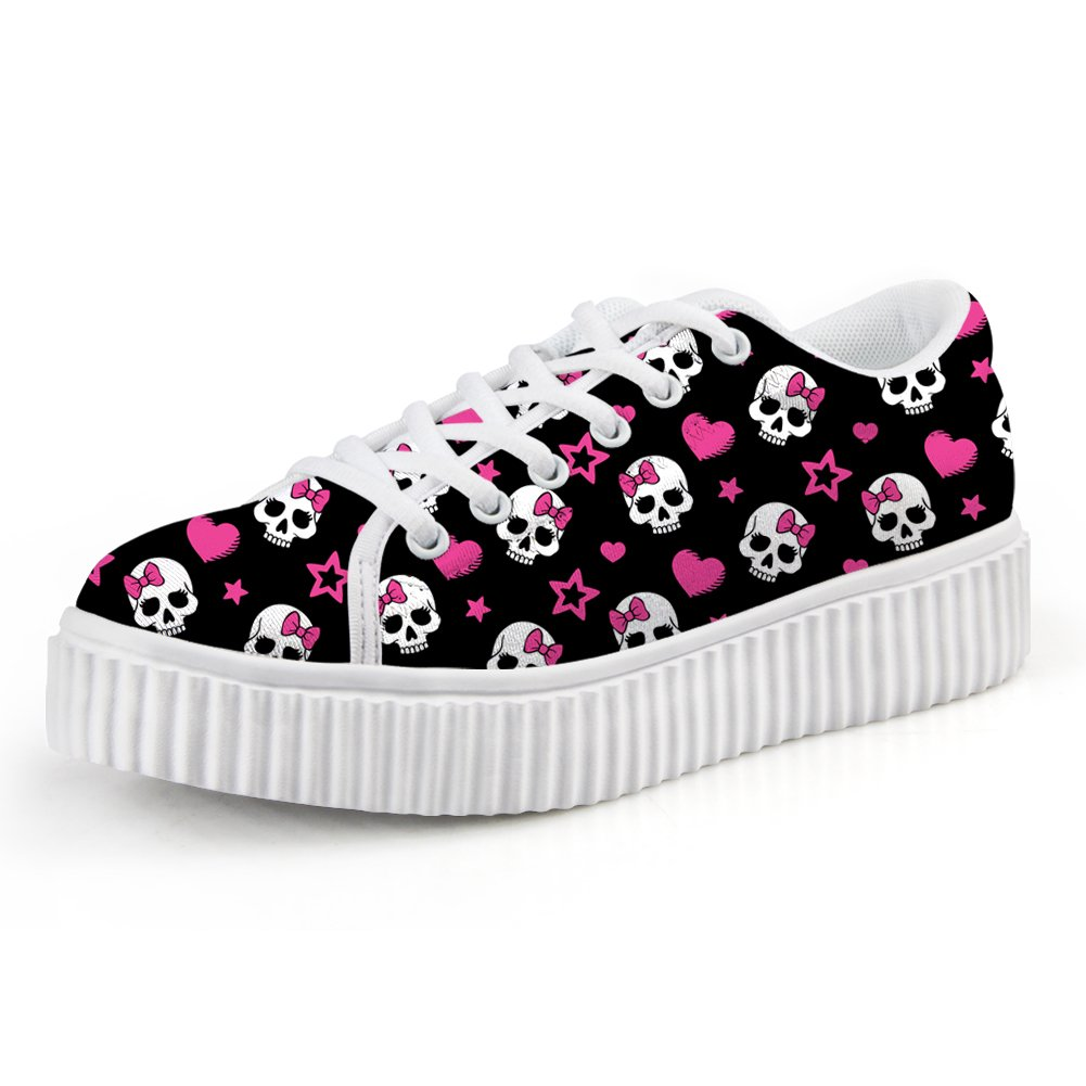 HUGS IDEA Korean Style Girls Low Top Shoes Skull Lace-up Black Sport Platform Snekers US7