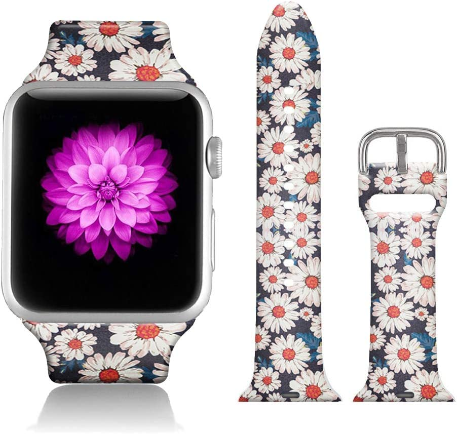 FTFCASE Sport Bands Compatible with iWatch 38mm/40mm Totem Flower - Daisy, Flower Printed Soft Silicone Strap Replacement for iWatch 38mm/40mm Series 4/3/2/1 Women Men