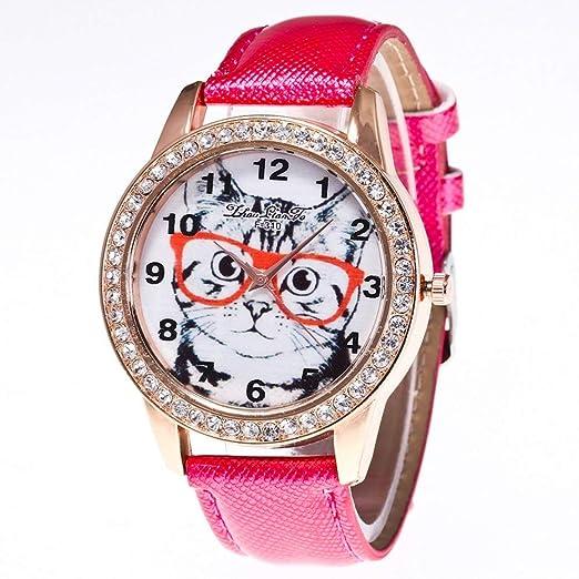 estrenar Beneficial Cat Reloj de Cuarzo de Moda Reloj Redondo Universal Relojes Retro Diseño Moda Popular