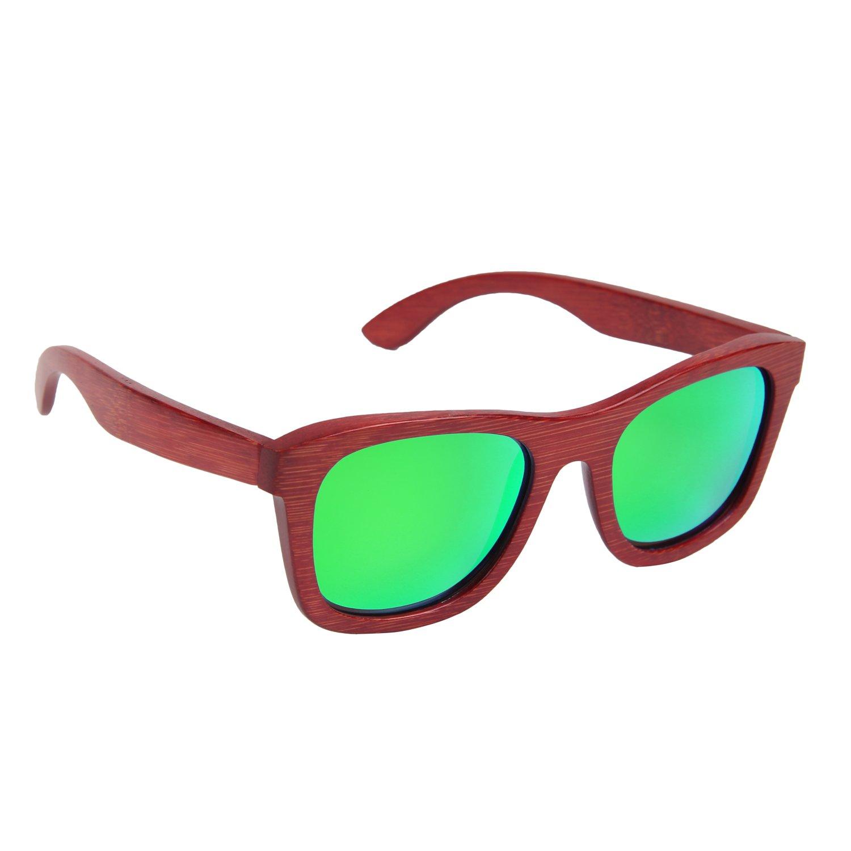Ynport Crefreak Lunettes de soleil en bambou, rouge, cadre en bois, lunettes de soleil pour voyageur, homme, femme, femme, Green