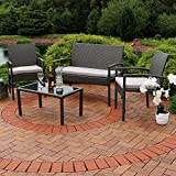 Sunnydaze Pompeii 4-Piece Outdoor Wicker Rattan Lounger Patio Furniture Set with Grey Cushions