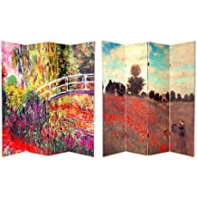 Oriental Furniture 6-Feet Monet Paintings Art Prints Room Dividers, Papavaris and Bridges Japonais at Giverny, 4 Panels