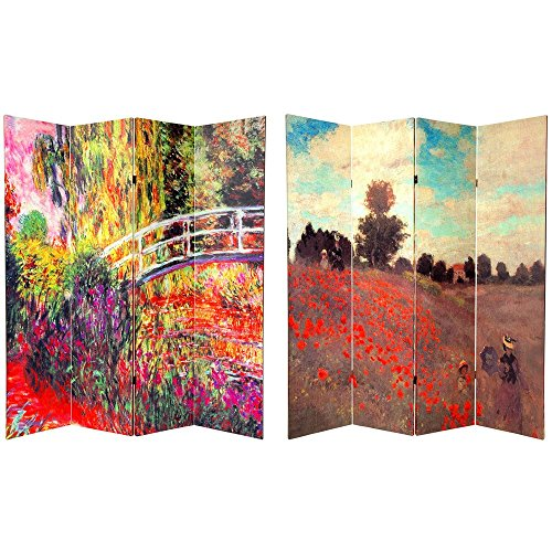 Oriental Furniture 6 ft. Tall Double Sided Works of Monet Canvas Room Divider 4 Panel by ORIENTAL FURNITURE