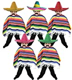 CHILDS MEXICAN BOY FANCY DRESS COSTUME PONCHO + MULTICOLOURED SOMBRERO WITH WHITE POM POMS WILD WEST BANDIT KID BY ILOVEFANCYDRESS