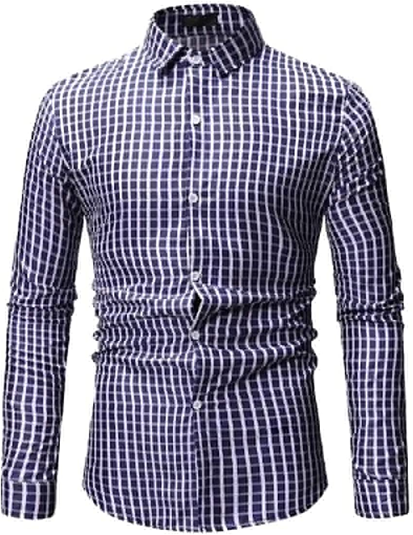 Tootless-Men Button Up Plaid Casual Turn-Down Collar Long Sleeve Shirts
