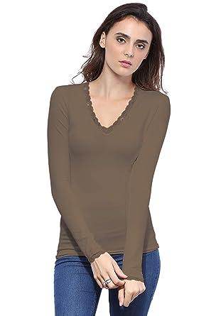 5cf96e5e252a Rendez Vous Paris T-shirt col V dentelle manches longues en modal JULIE   Amazon.fr  Vêtements et accessoires