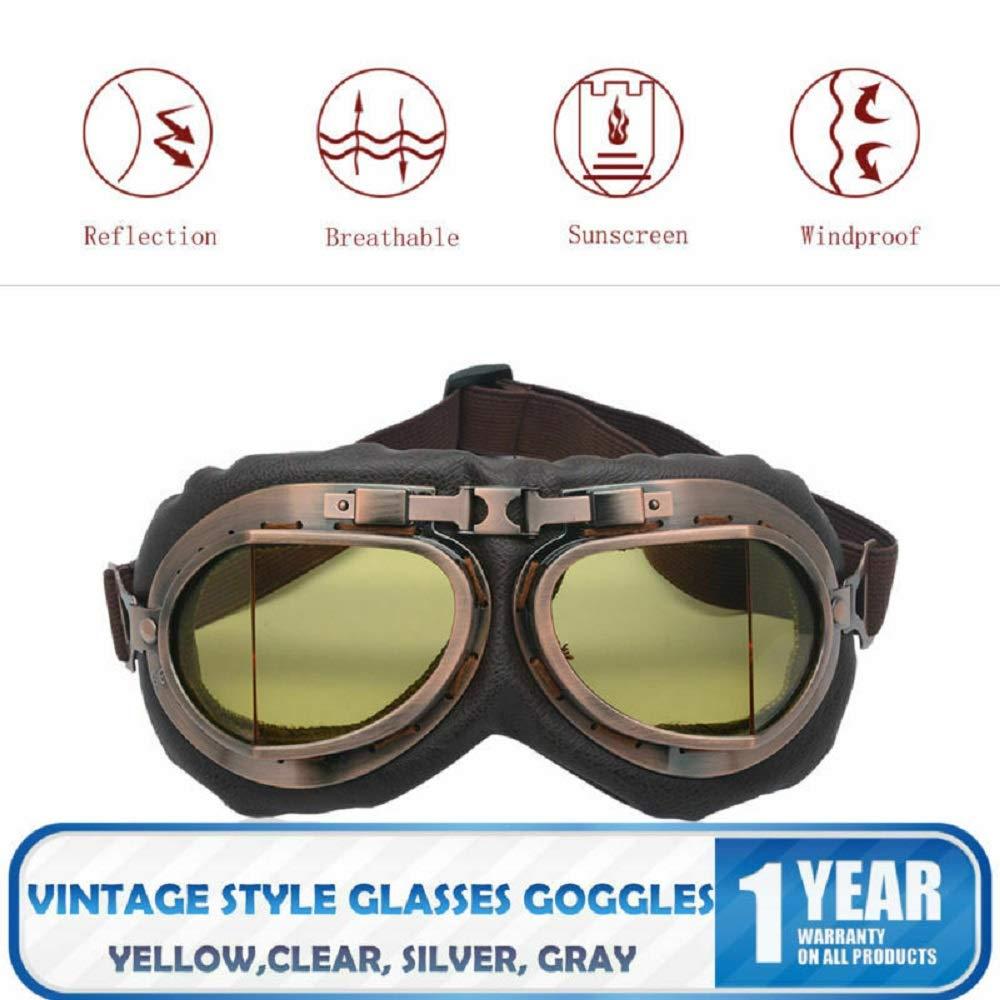 MASO Steampunk Vintage Helmet Goggles Anti-UV windproof Glasses Eyewear for Outdoor Sports Motocross Racer Yellow