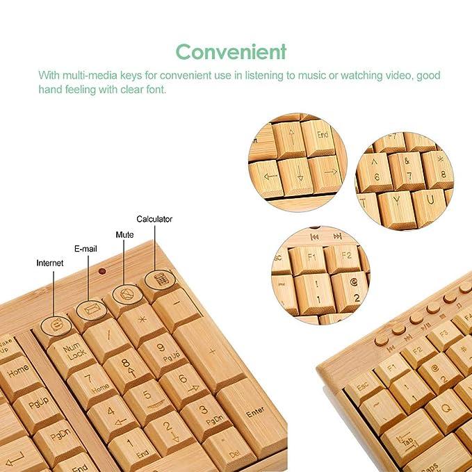 Amazon com: 2 4G Wireless Bamboo PC Keyboard and Mouse Combo