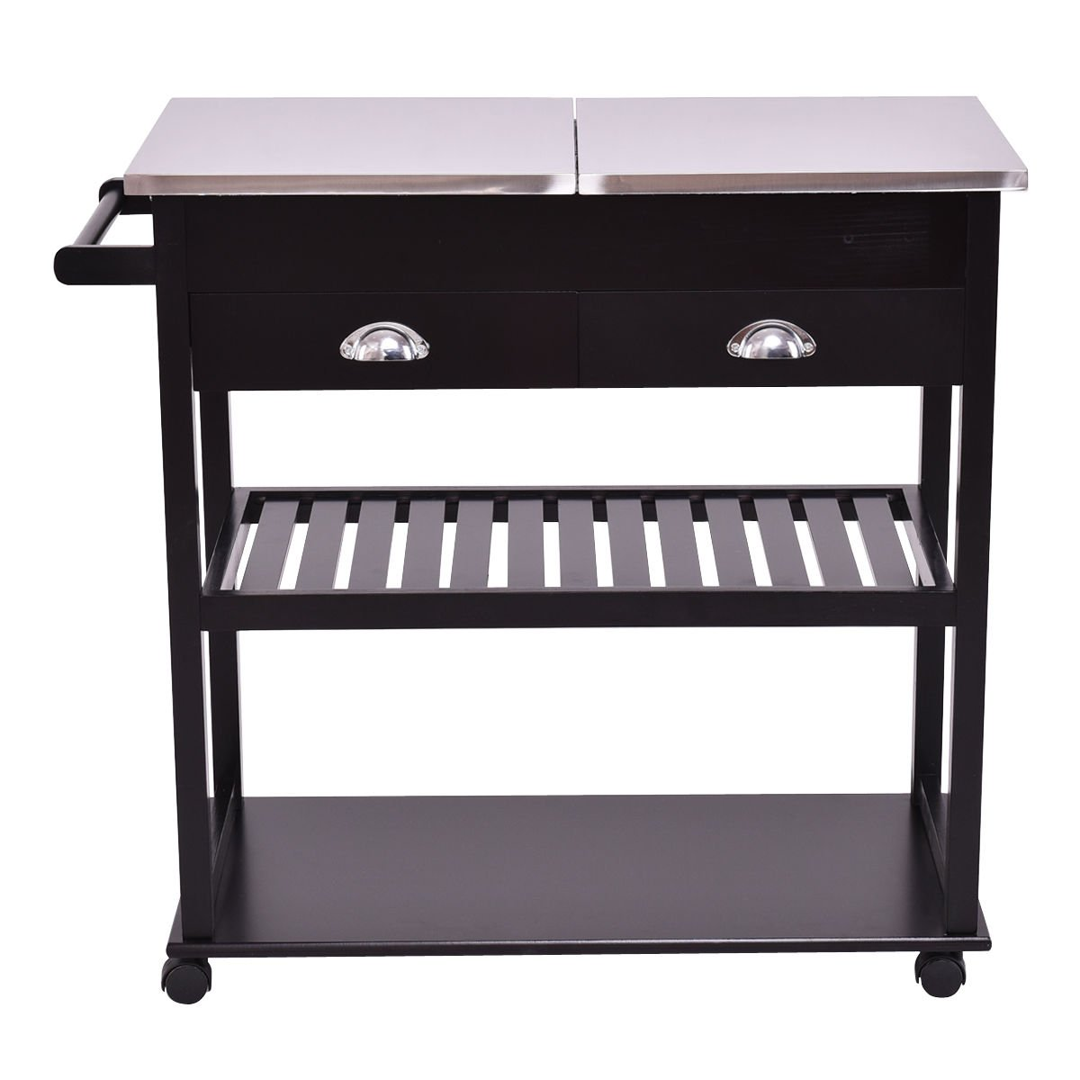 New Dark Brown Rolling Kitchen Trolley Cart Stainless Steel-Flip Top W/Drawers &Casters by totoshopkitchen