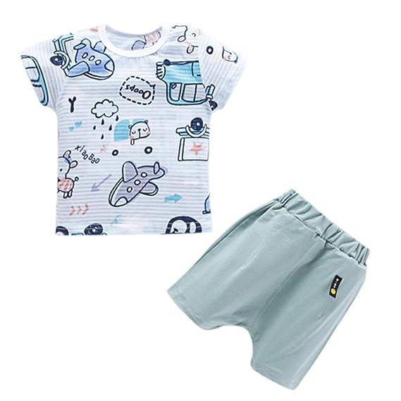PAOLIAN Conjuntos para recién nacidos Ropa para bebé niños unisex Verano Camisetas de Limón y Dinosaurs