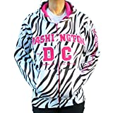 Washington DC Women's Zebra Print Non-Zip Hoodie (Small, Black/Pink)