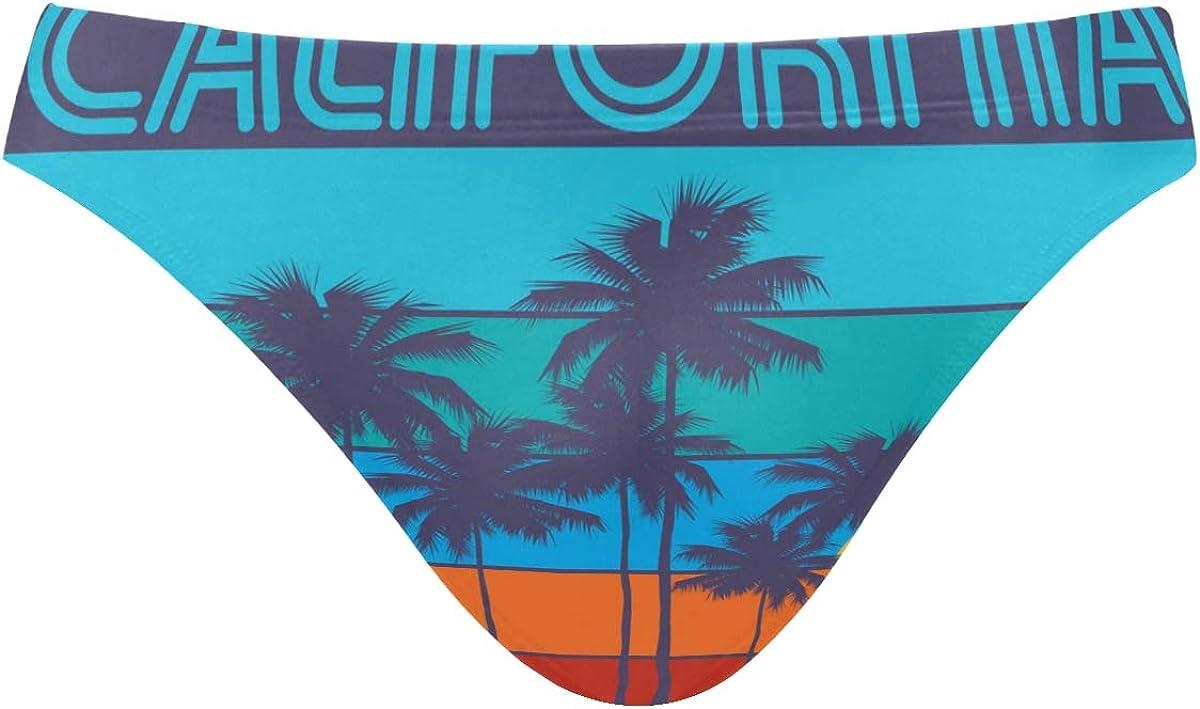 ALAZA Mens Swim Briefs, Men Swimwear Briefs, Mens Swim Bikini Swimwear S-3XL Theme of Surfing California Rider