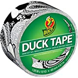 Duck Brand 283929 Printed Duct Tape, Black and White Flower, 1.88 Inches x 10 Yards, Single Roll