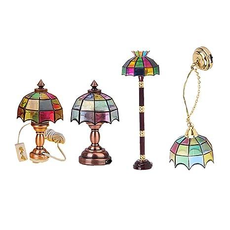 Baoblaze 4 Set 12th Handcrafts Dollhouse Miniature LED ...
