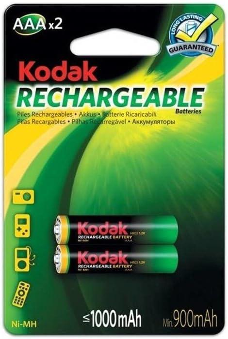 Kodak, K3AHR-2 2X, Pilas Recargables AAA 1000mah Ni-MH, Long Lasting Power 1,2V, R03 HR-4U HR03
