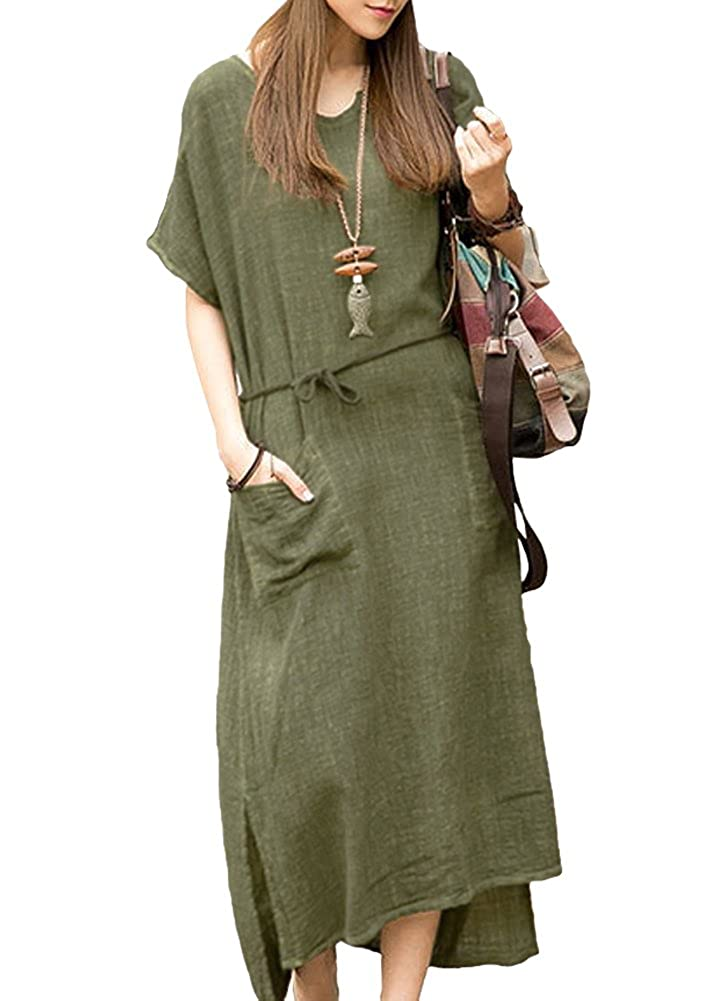 Romacci Damen Übergroße Retro Casual Lose Langes Kleid Baumwolle Leinen Solide Kurzarm Knöchellang Kleid