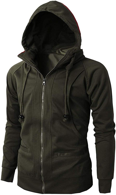 Mens Hoodie Sweatshirts Long Sleeve Zipper Pullover Tops,Army Green,L