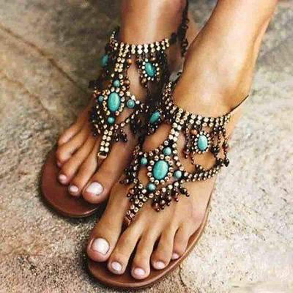Summer Gladiator Sandals for Women Casual Beach Shoes Flip Flops Platform Bohemian Beaded Flat Sandals Blue by NIKAIRALEY Shoes (Image #2)