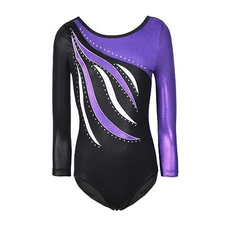 BOBORA Enfant Manches Longues Dancewear Vetements de Gymnastique Bodysuit  Ballet Justaucorps (Violet 0bde45a7621