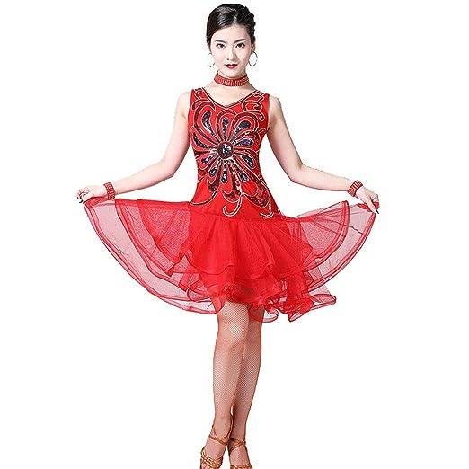 ZDAMN Falda de Danza del Vientre Vestido de Baile Latino para ...