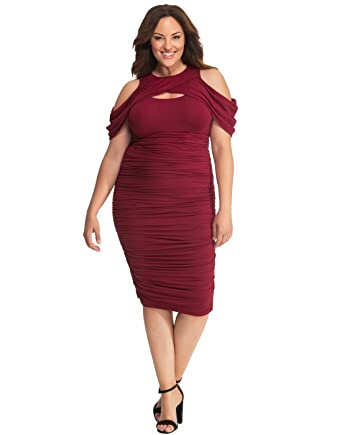 50cd6a4a2 Kiyonna Women's Plus Size Bianca Ruched Dress at Amazon Women's ...