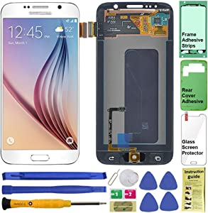 Display Touch Screen (AMOLED) Digitizer Assembly with Home Button for Samsung Galaxy S6 (5.1 inch) G9200 G920A G920P G920T G920V G920R4 G920F G920I G9208 G920K G920L G920S (White)