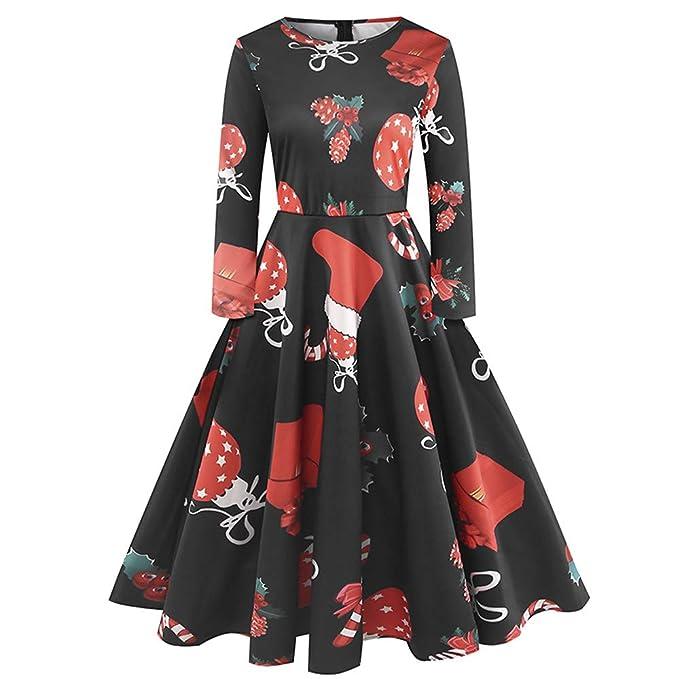 BBestseller Fiesta Vestir Impresión de Santa Claus de la Muchacha de Las Mujeres Vestido Suelta Kimono