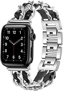 W17 Apple Watch Bands 38mm Women Series 3, Dressy Apple Watch Bands 40mm Series 6, SE, 40mm Series 5 Women, Series 4, Apple Watch Jewelry Bracelet, iWatch Bands Women, Chain Metal Bands with Leather, Sliver and Black