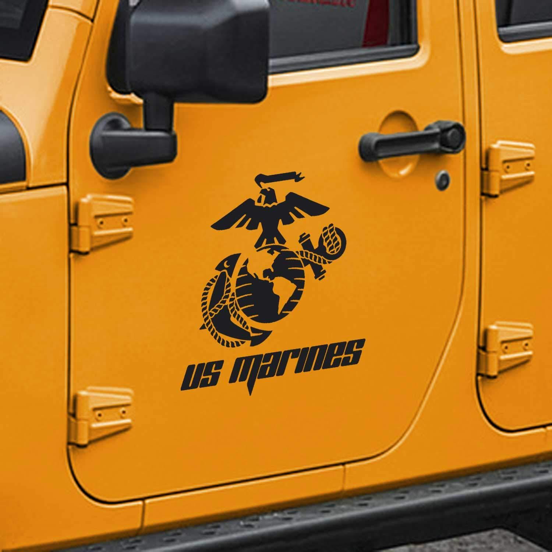 Amazon com skunkmonkey jeep wrangler usmc marine corps eagle globe anchor ega door decals tj lj jk jku matte black stickers pair left right
