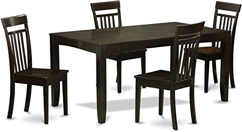 LYCA5-CAP-W 5 Pc Dining room set for 4-Dining Table with Leaf and 4 Dining Chairs