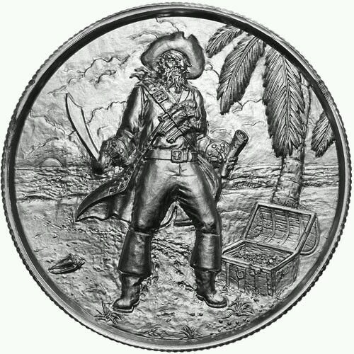 2 oz Elemetal The Captain Ultra High Relief Silver Round (Privateer Series #3, New) (2 Oz Privateer Ultra High Relief Silver Round)