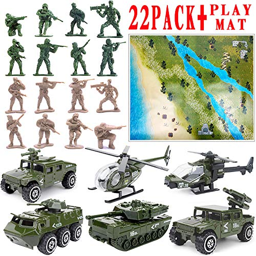 22 Pack Die-cast Military Vehicles Sets with 1 Playmat,Assorted Alloy Metal Army Models Car Toys and Soldier Army Men,Tank,Jeep,Panzer,Anti-Air Vehicle,Helicopter Playset, Playmat for Kids Boys