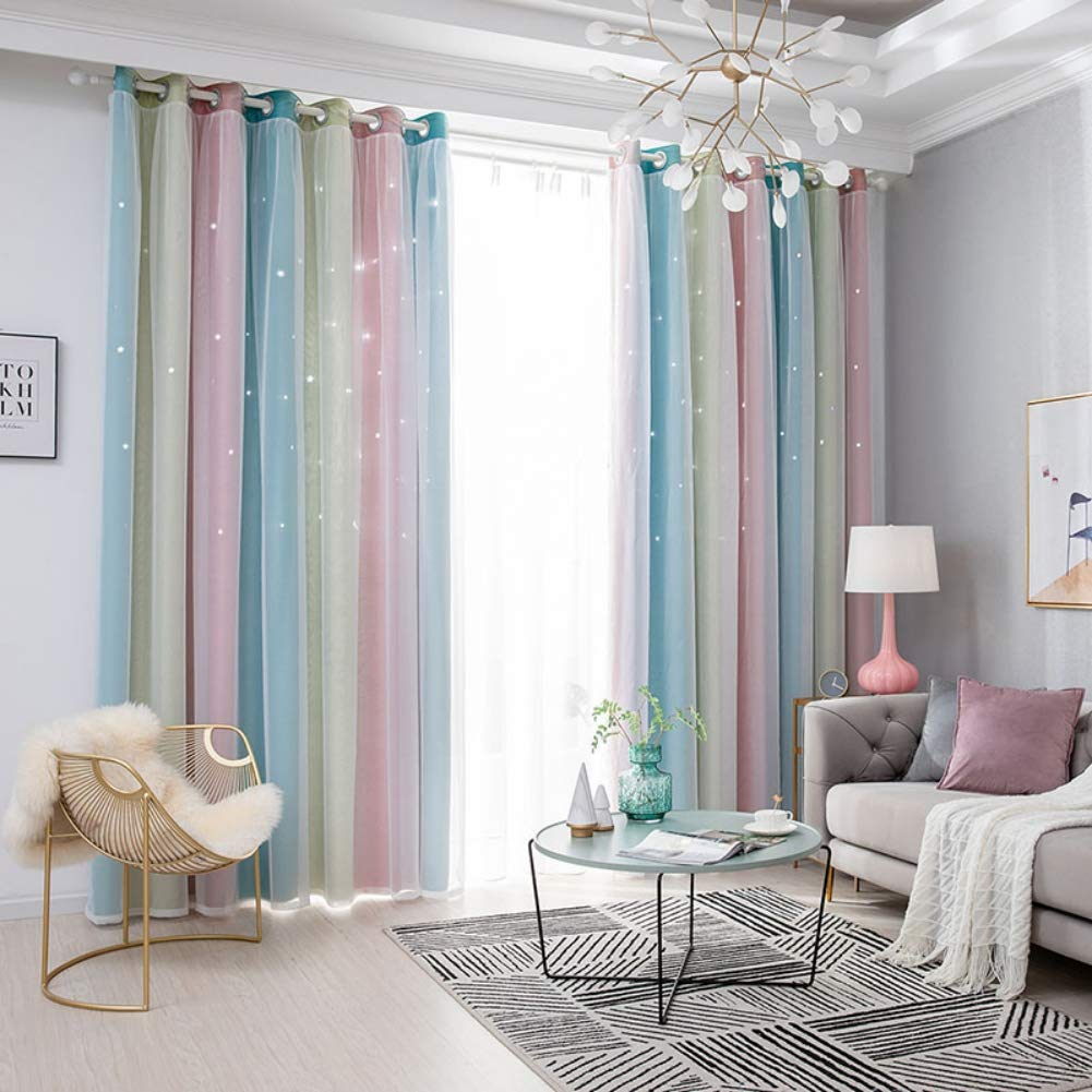 2x Gradient Hollow Star Curtain Bedroom Full Blackout Window Drapes Home Decor