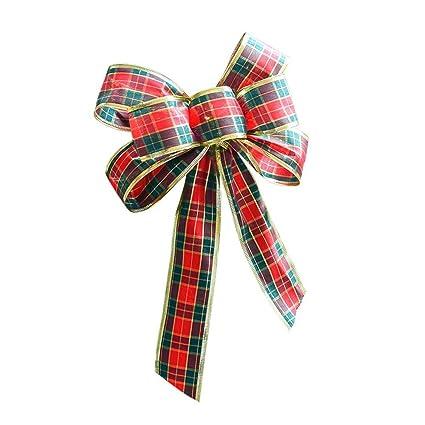 bonne vente de chaussures plus de photos vif et grand en style Arc De Noël Noeuds De Noël Arc écossais de 25 cm Bowknot Ruban Arc Écossais  Noël Décorations De Sapin De Noël Rouge Arc De Décoration D'arbre De Noël