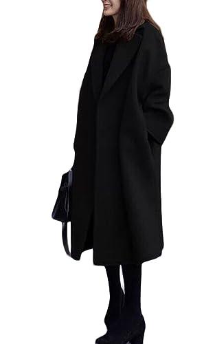 PDFGO Abrigos De Mujer Abrigo De Lana Abrigo De Lana Abrigo De Lana Sección Suelta Gruesa Larga Rodilla Cintura