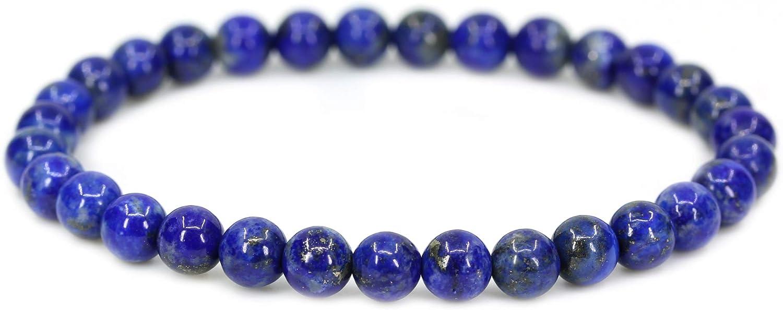 Pulsera de piedras semipreciosas gemas circulares, 6 mm, cordel elástico, unisex, 18 cm, de Amandastone
