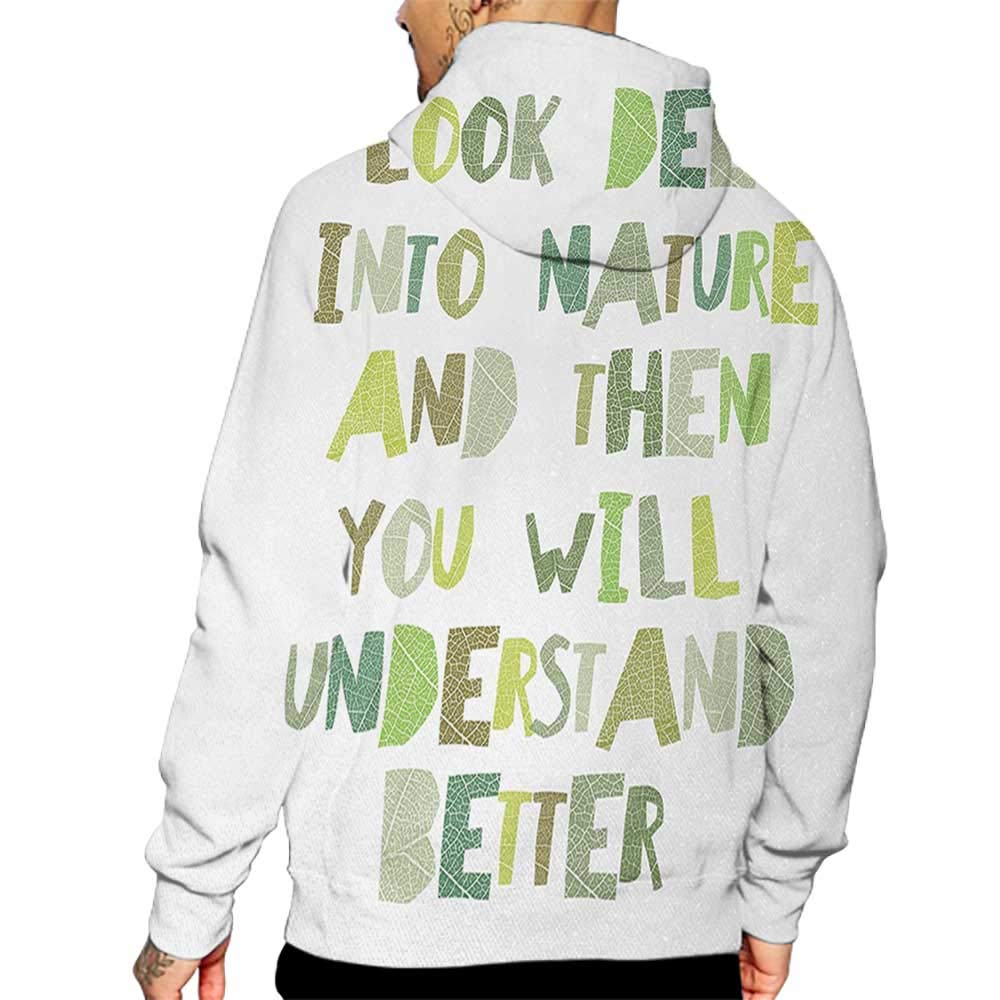 Hoodies Sweatshirt/ Men 3D Print Quote,Look Deep into Nature,and Then You Will Understand Everything Better Leaf Cut Letters,Green Sweatshirts for Teen Girls