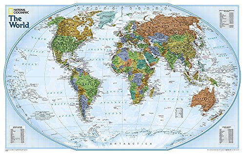National Geographic: World Explorer Wall Map - Laminated (32 x 20 inches) (National Geographic Reference Map) (World Decorator Map)