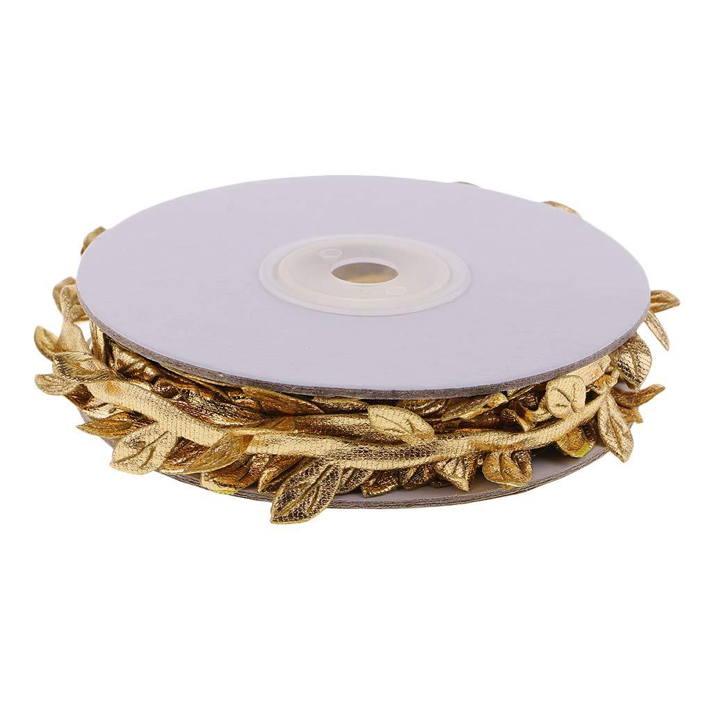 kesoto 10 Meters Satin Fabric Leaf Garland Ribbons Sewing Trims Decoration - Gold