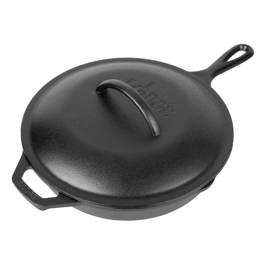 Lodge L8GP3 Cast Iron Grill Pan, 10.25-inch, with Lid