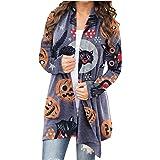 Womens Halloween Funny Cute Pumpkin Black Cat Ghost Graphic Tops Long Sleeve Open Front Cardigan Blouse Lightweight Coat